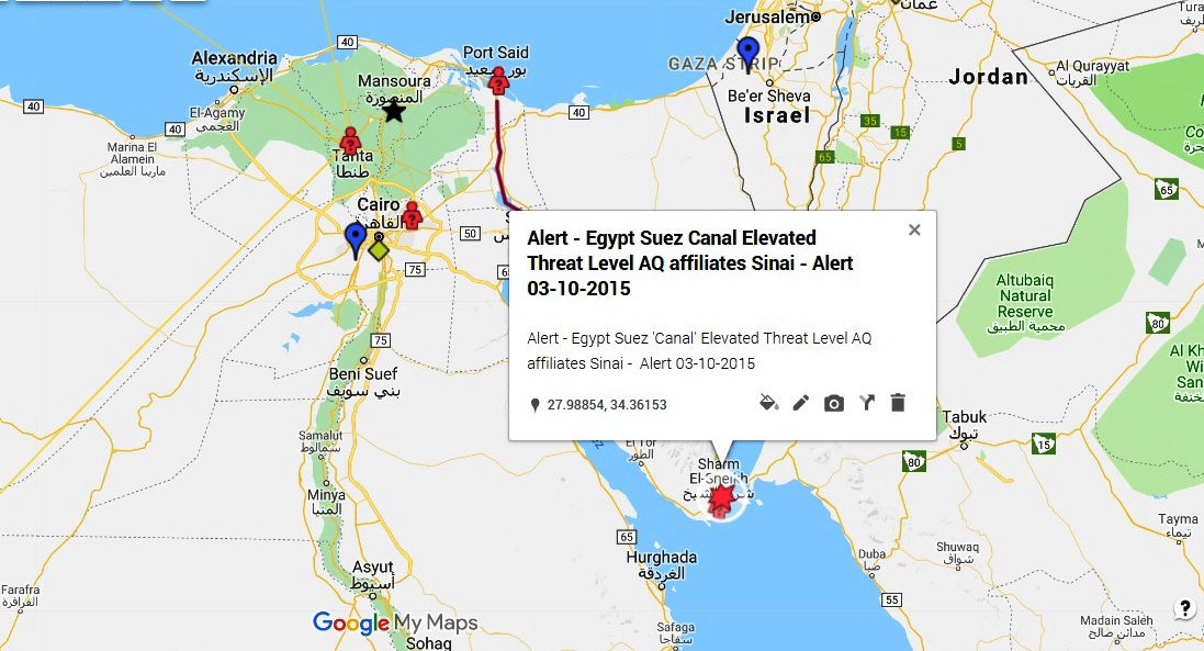 Alert - Egypt Suez Canal Elevated Threat Level AQ affiliates Sinai - Alert 03-10-2015