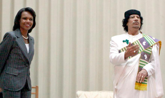 Condoleezza Rice paid a visit to Tripoli, Libya, and met with Qaddafi